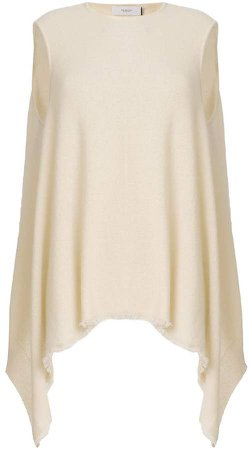 cashmere asymmetric sleeveless top