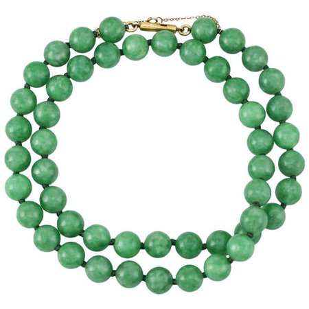 Vintage Certified Natural Green Jadeite Jade Bead Necklace