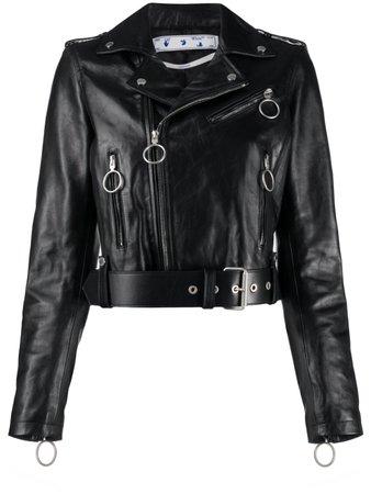 Off-White Leather Biker Jacket - Farfetch