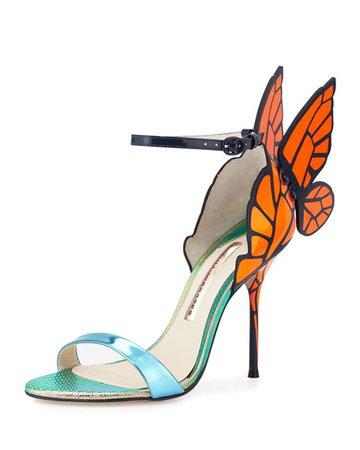 Sophia Webster Chiara Butterfly Wing Sandal, Blue/Orange | Neiman Marcus