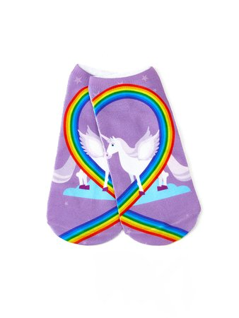 Unicorn & Rainbow Print Invisible Socks