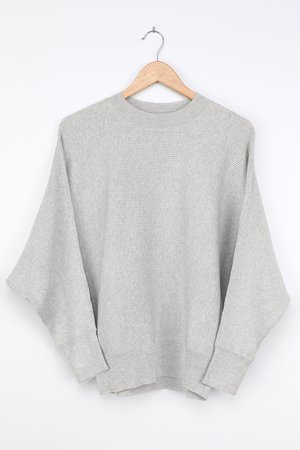 Cozy Grey Sweater - Ribbed Knit Top - Dolman Sleeve Sweater - Lulus