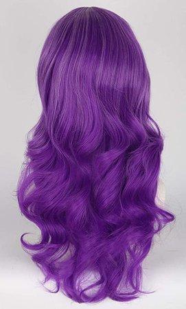Amazon.com: Topcosplay Purple Wigs for Kids Girls Child Long Curly Mal Wig Halloween Wigs: Beauty