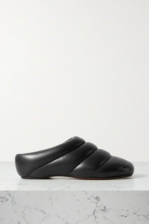 Rondo Quilted Leather Slippers - Black