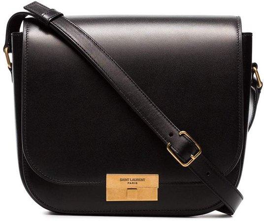 logo engraved leather satchel