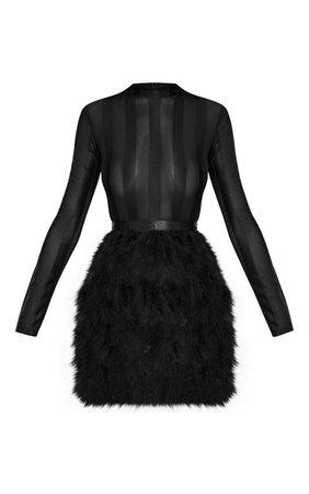 FAWN BLACK FEATHER SKIRT BODYCON DRESS.JPG (740×1180)