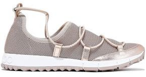 Andrea Metallic Leather-trimmed Stretch-mesh Sneakers