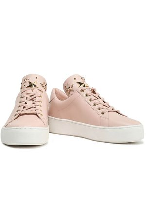 Pastel pink Mindy studded leather sneakers   Sale up to 70% off   THE OUTNET   MICHAEL MICHAEL KORS   THE OUTNET