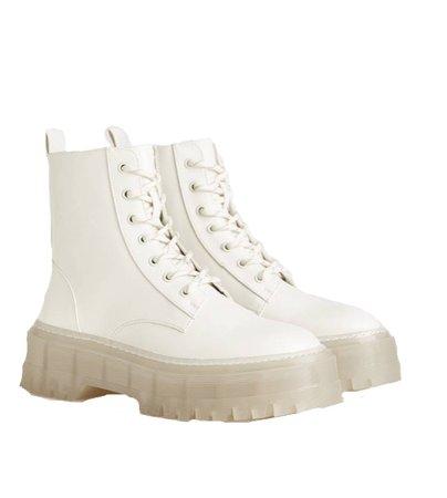 white bershka boots