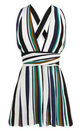 Stripe Tie Back Playsuit | PrettyLittleThing