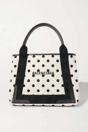 Leather-trimmed Polka-dot Canvas Tote - Beige