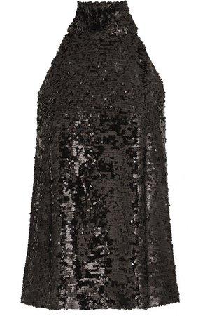Galvan | Moonlight sequined chiffon halterneck top | NET-A-PORTER.COM