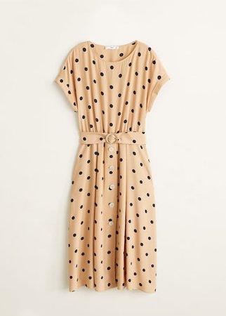 Polka-dot belt dress - Women | Mango USA