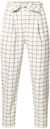 PAISIE - Checked Peg Leg Trousers In White & Black With Self Belt