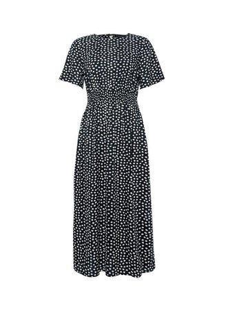 Black Spot Print Shirred Waist Midi Dress | Dorothy Perkins