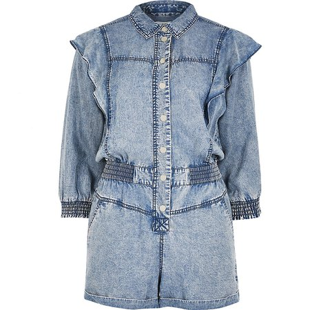 Petite blue acid wash frill playsuit | River Island