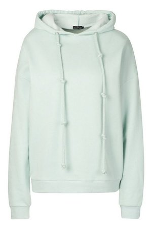 Fleece Back Knot Detail Drawstring Oversized Hoodie | Boohoo green