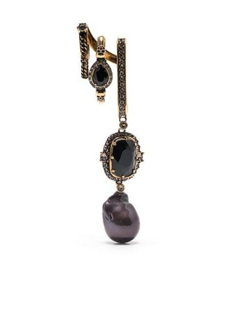Alexander McQueen crystal-embellished drop earring gold & black 650463I1211 - Farfetch