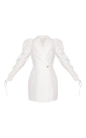 White Linen Puff Sleeve Blazer Bodycon Dress | PrettyLittleThing USA