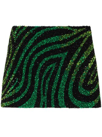 Ashish Zebra Print Sequin Mini Skirt - Farfetch