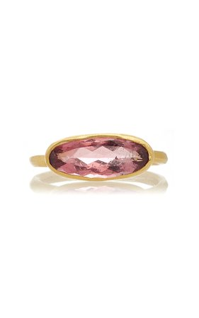 Margery Hirschey Pink Tourmaline Elongated Oval Ring