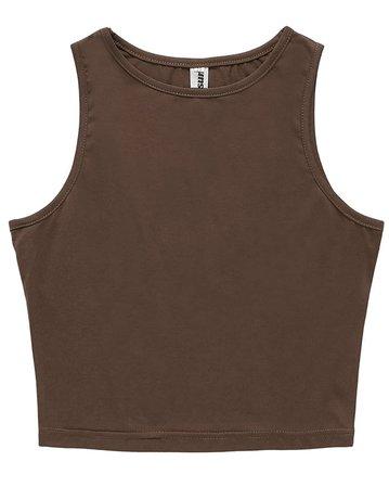 persun sleeveless brown crop top tank top