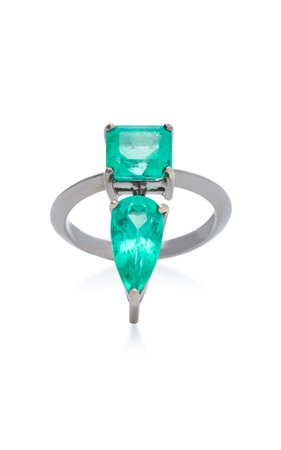 Rhodium-Plated 18K White Gold Emerald Ring by Jack Vartanian | Moda Operandi