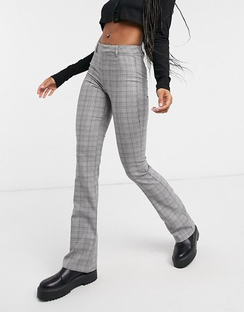 Bershka check flare trouser in grey | ASOS