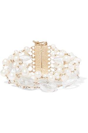 Rosantica | Prato Fiorito gold-tone, pearl and crystal bracelet | NET-A-PORTER.COM