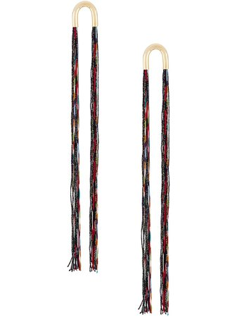 Black & red Missoni lamé fringe earrings MDV00169BV005B - Farfetch