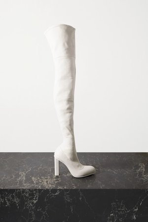 Leather Over-the-knee Boots - White