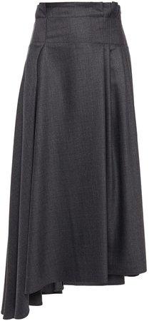 Asymmetric Pleated Wool Midi Skirt
