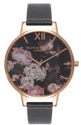 Signature Florals Leather Strap Watch, 38mm