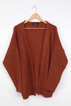 Cute Brown Cardigan - Oversized Cardigan - Knit Cardigan - Cardi - Lulus