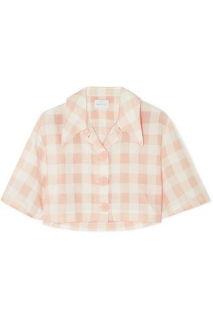 alice McCALL | Pink Moon cropped gingham cotton-blend shirt | NET-A-PORTER.COM