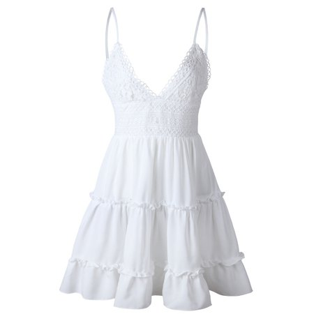 Summer Women Lace Dress Sexy Backless V-neck Beach Dresses Fashion Sleeveless Spaghetti Strap White Casual
