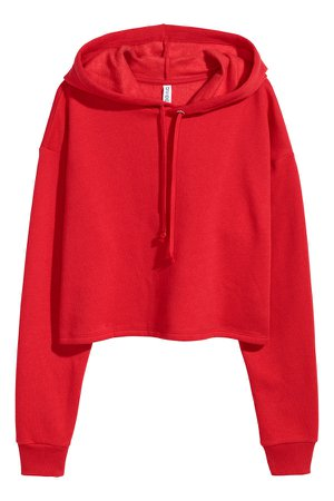 Cropped hooded top   Bright red   LADIES   H&M ZA