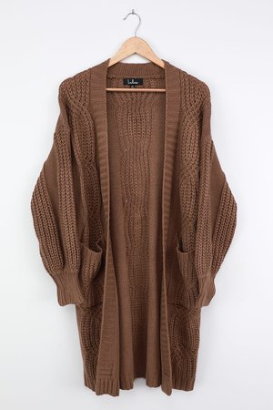 Cozy Brown Cardigan - Cable Knit Cardigan - Oversized Cardigan - Lulus