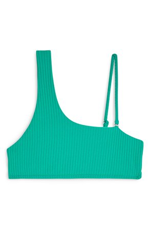 Topshop Ribbed One-Shoulder Bikini Top Green