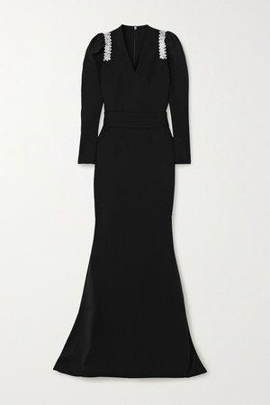Black Tonya belted crystal-embellished crepe gown | Safiyaa | NET-A-PORTER