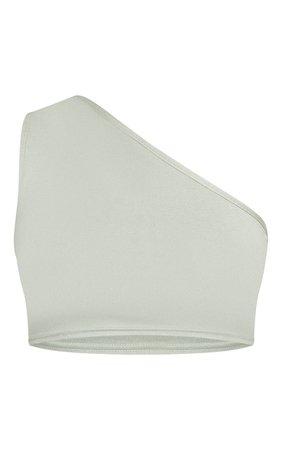Sage Green Basic One Shoulder Jersey Crop Top   PrettyLittleThing USA