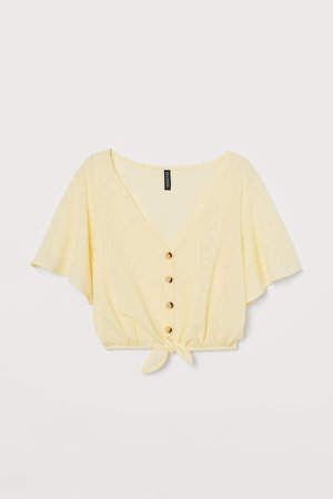 Short Top with Tie Detail - Yellow