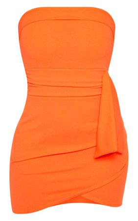 Orange Tie Waist Detail Bandeau Bodycon Dress - New In Clothing - New In   PrettyLittleThing USA