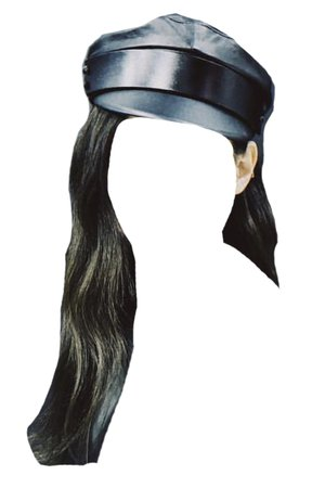 Black Hair with Baker Boy Hat Png