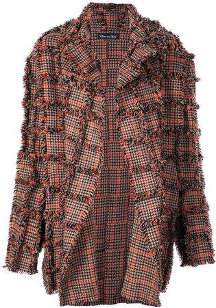 oversized plaid fringed coat