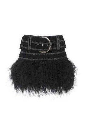 Balmain Belted Feather Hem Skirt