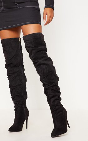 Black Thigh High Slough Boot   Shoes   PrettyLittleThing USA