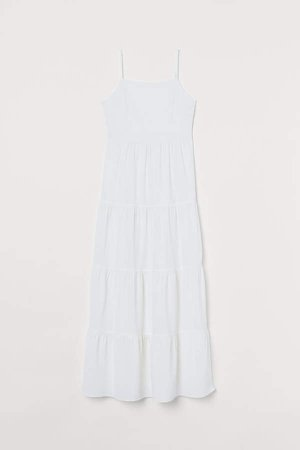 Creped Maxi Dress - White