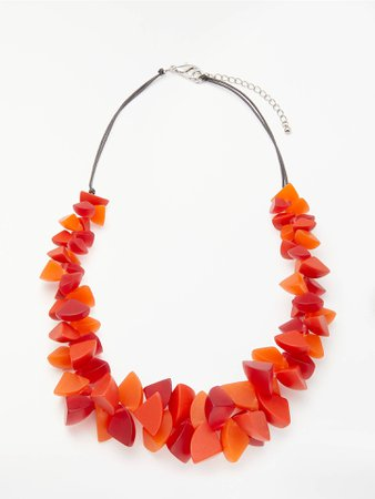 One Button Resin Segment Statement Necklace, Orange/Red at John Lewis & Partners