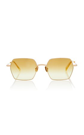Peter and May Moon Square-Frame Titanium Sunglasses